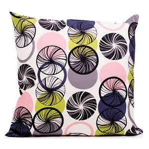 Geo Swirls Cushion, Purple, Double Sided