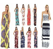 Womens Boob tube Long Maxi Dress Ladies Sheering  Bandeau StraplessSize 8-24
