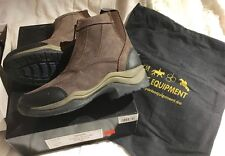 HKM Cyclone Zip Riding Jodhpur Yard Paddock Boots Brown Nubuck Suede 4 11 Last 2