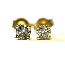 14k yellow gold .22ct SI3-I1 H round diamond stud earrings vintage estate ladies