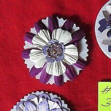 "# 303  MULTI COLORS  HAND MADE  3""  PRIMA PAPER FLOWERS  PURPLES & WHITE"