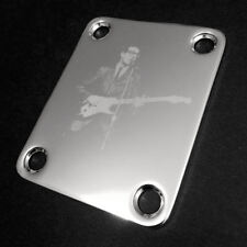 Engraved Photo Etched GUITAR NECK PLATE Fender Size - BUDDY HOLLY - Chrome