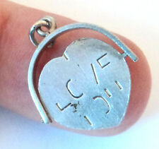 Vintage STERLING SILVER CHARM Quite Rare 'I LOVE YOU' HEART SPINNER Fob 1.10g