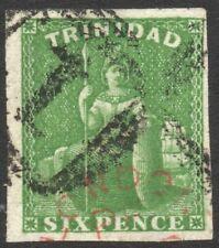 TRINIDAD-1859 6d Yellow-Green Sg 42 FINE USED V41385