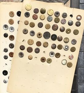 2 INTERESTING CARDS OF 100+ ANTIQUE OVERALL WOBBLE SHANK & WORKCLOTHES BUTTONS