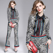 2020 Spring Summer Fall Women Sets Leopard Print Top Shirt Pant Suits Outfits