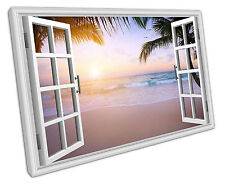 Vista De Ventana Playa Paraíso LONA pared arte Foto Grande 75 X 50 Cm