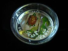 Great New Year Gift! Canada Silver Coin Venetian Glass Turtle Flower