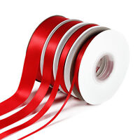 RED Double-sided Satin Ribbon 3mm 10mm 16mm & 25mm Widths. Full 25m lengths