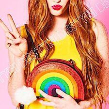 NWT Betsey Johnson Rainbow I Love Hue CrossBody Shoulder Bag Purse Clutch Pom