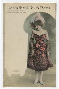 c 1905 French Glamour Pretty SHOWGIRL Music Hall photogravure photo postcard