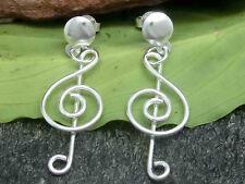 Key notes earrings silver 925 earrings musical note key