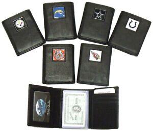 NFL Official Trifold Top Grain Genuine Leather Wallet Emblem Wallets team 2104