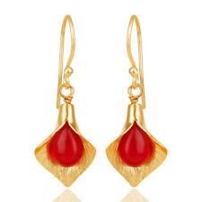 Aventurine Handmade Bouquet Designer Earrings 14K Gold Plated Jewelry