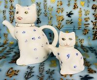 Vintage Lucky Cat Teapot Set Of 2 China White Blue Flowers Pier 1 Large Small