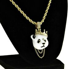 "Crown Panda Rope Chain White Bear Pendant Gold Finish Hip Hop Necklace 24"" Inch"