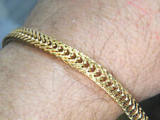 "18kt GOLD BRACELET Gold Filled SturdyThick Tight Woven 81/4"" Lobster Clasp  NEW!"