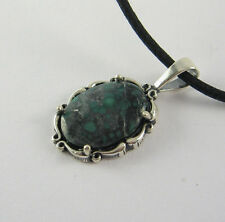 Blue Turquoise Pendant Necklace .925 Sterling Silver USA Made Adjustable Cord