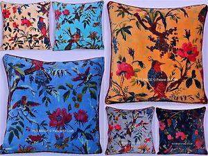 Bird Floral Velvet Cushion Sofa Cover Ethnic Indian Traditional Pillow Case Art