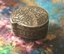 Sterling Silver Collectible Trinket / Pill Box 1.75 X 3/4� Ornate Design Pattern