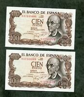 LOTE 2 BILLETES 100 PESETAS 1970 SERIE 9A  PAREJA CORRELATIVA  SC SIN CIRCULAR