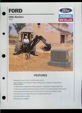 Rare Vintage Factory 1989 Ford New Holland 764 Utility Backhoe Dealer Sheet Page