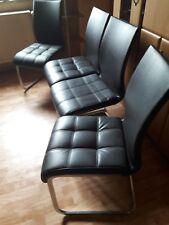 5 Stühle, Esszimmerstuhl, schwarzer Kunstleder  Metall, gebraucht