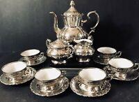 17 Piece Gareis Porzellan Bavaria Silver Overlay Demitasse Coffee Set