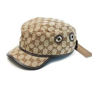 NWT GUCCI CANVAS GG Hat Cap 200037 L Large Beige/ebony Military