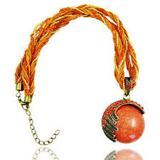 Vintage Jewellery Antique Bronze & Orange Round Shape Pendant Necklace N181