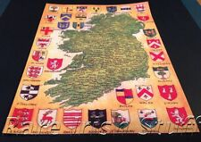 Map Of Ireland With Irish Celtic Last Names / Surnames & Crests Genealogy Print