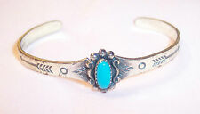 VINTAGE STERLING SILVER ZUNI TURQUOISE CUFF BRACELET BABY CHILD FRED HARVEY ERA