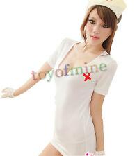 Sexy Lingerie Dress Underwear Nurse Fancy White Costume+G-string+Hat