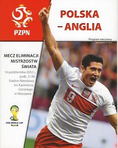 POLAND v England (World Cup Qualifier in Warsaw) 2012 - Official programme