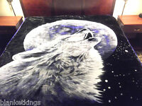 NEW 11 POUNDS SUPER SOFT QUEEN REVERSIBLE KOREAN STYLE MINK BLANKET WOLF IN SNOW
