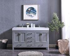 60″ Grey Double Sink Vanity with Wide Line Undermount Sink
