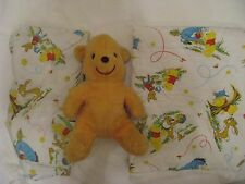 VTG Sears Perma Prest Disney Winnie The Pooh Fitted Crib Sheet Quilt Plush Lot