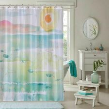 By The Sea Watercolor Fabric Shower Curtain Kathy Davis New