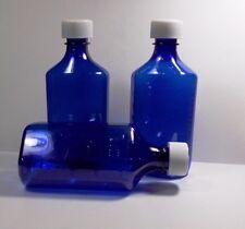 25 LOT RX Medicine Plastic COBALT BLUE Bottles/Caps 8 OZ Size-BRAND NEW
