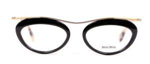 MIU MIU Black Resin Rim Gold Frame Tortoise Eyeglasses Frames VMU56M