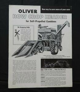 1958 THE OLIVER MODEL 35 COMBINE 2-ROW ROW-CROP HEADER BROCHURE VERY GOOD