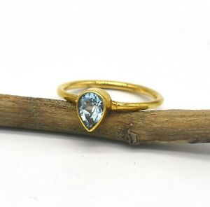 Handmade Solid 18k Yellow Gold Ring Natural Pear Shape Blue Topaz Gemstone Ring