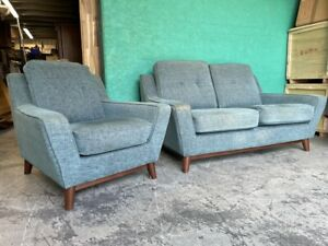 G Plan Vintage The Fifty Three Small 2 Seater Sofa + Armchair - Fleck Blue