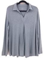 J. JILL Pima Center Pleat Tunic Top Sz L V Neck Blue Long Sleeve Lagenlook
