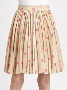 AUTH Kate Spade Melody Polka Dots Pleated Skirt in Size 0  NWT