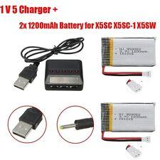 2x 3.7V 1200mAh Batería+5in1 Cargador Set Para For Syma X5SW X5SC RC Drone A2