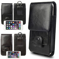 Vertical Genuine Leather Case Cover Belt Clip Holster Pouch For iPhone Samsung
