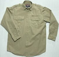 Duluth Trading Long Sleeve Button Up Canvas Work Shirt Mens Medium M / Large L