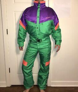 NEVICA One piece SKI SUIT Snow Bib Snowsuit Green VTG 80s 90s Neon 38 Mens SMALL
