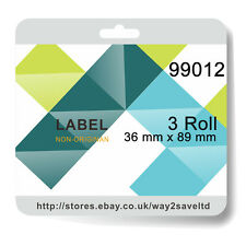 3 Roll 99012 Compatible for DYMO Address Label Rolls 36mm x 89mm 260 labels